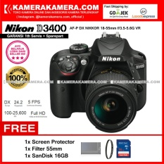 Nikon D3400 AF-P DX Nikkor 18-55 VR Kit 24MP DX-format APS-C CMOS Sensor Full HD 1080p 60 fps Built-in Wireless (Garansi 1th) Free Screen Guard + SanDisk 16gb + Filter 55mm