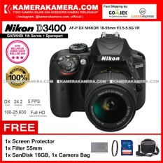 Nikon D3400 AF-P DX Nikkor 18-55 VR Kit 24MP DX-format APS-C CMOS Sensor Full HD 1080p 60 fps Built-in Wireless (Garansi 1th) Free Screen Guard + SanDisk 16gb + Filter 55mm + Camera Bag