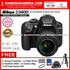 Nikon D3400 AF-P DX Nikkor 18-55 VR Kit 24MP DX-format APS-C CMOS Sensor Full HD 1080p 60 fps Built-in Wireless (Garansi 1th) Free Screen Guard + SanDisk 16gb + Filter 55mm + Camera Bag + ATTanta Kaiser 203