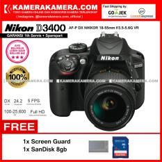 Nikon D3400 AF-P DX Nikkor 18-55 VR Kit 24MP DX-format APS-C CMOS Sensor Full HD 1080p 60 fps Built-in Wireless (Garansi 1th) Free Screen Guard + SanDisk 8gb