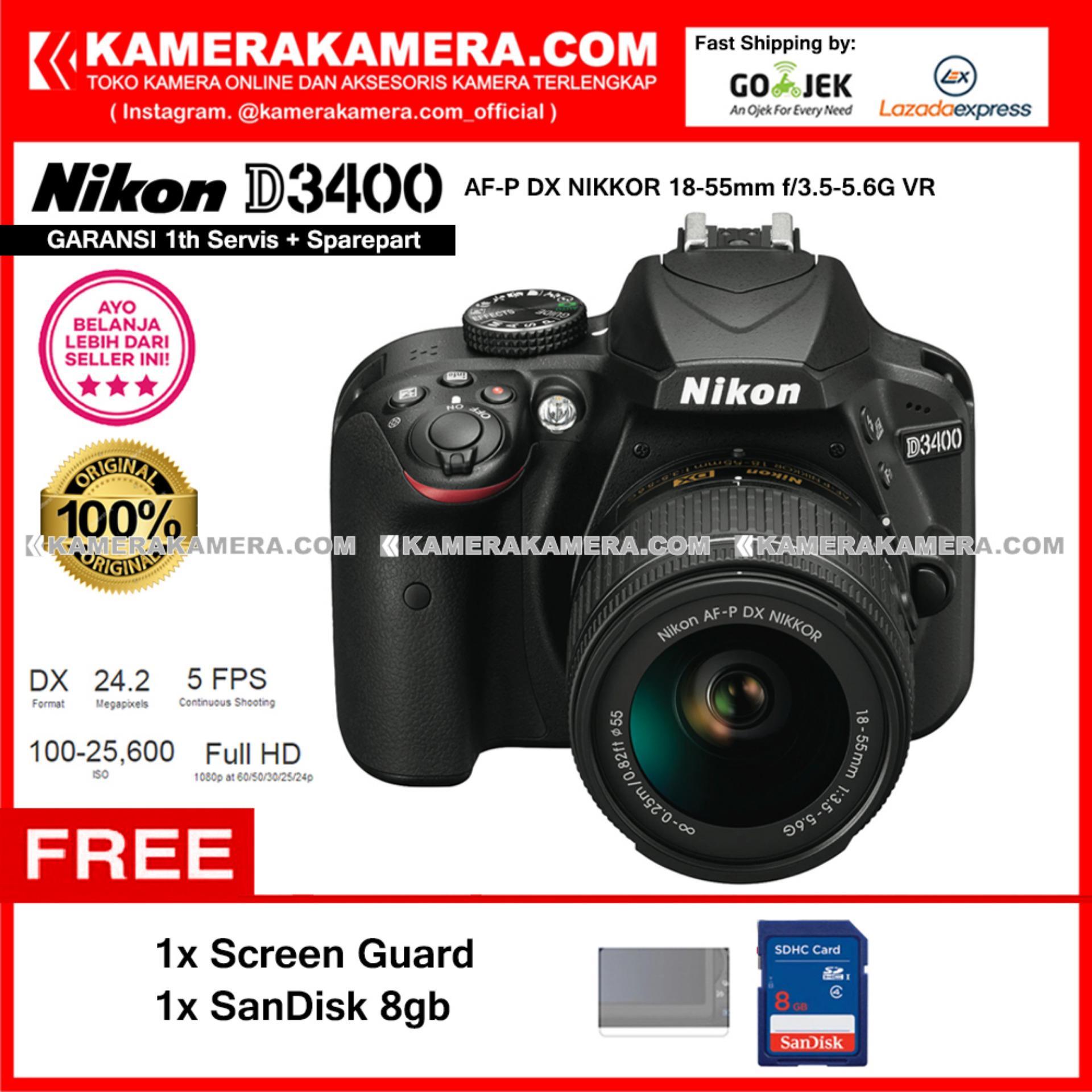 Beli sekarang Nikon D3400 AF-P DX Nikkor 18-55 VR Kit 24MP DX-format APS-C CMOS Sensor Full HD 1080p 60 fps Built-in Wireless (Garansi 1th) Free Screen ...
