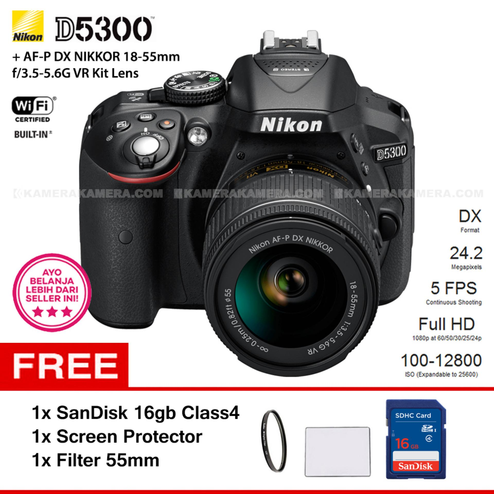 NIKON D5300 (BLACK) + AF-P DX NIKKOR 18-55mm f/3.5-5.6G VR Kit Lens WiFi 24.2MP 5FPS Full HD + Filter 55mm + SanDisk 16Gb + Screen Protector