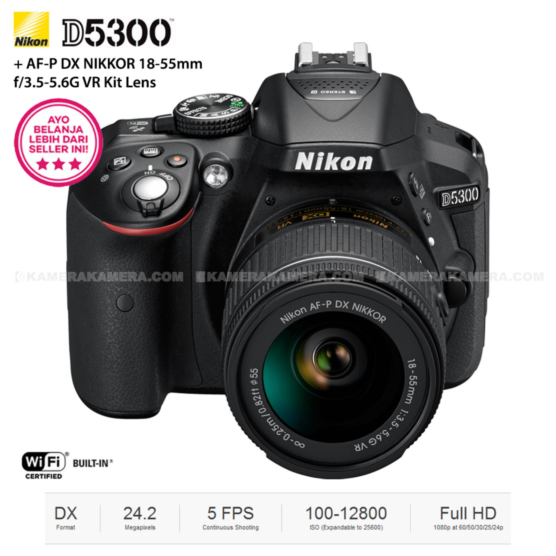Jual Nikon D5300 Af P Dx Nikkor 18 55Mm F 3 5 5 6G Vr Kit 24 2Mp Black Termurah