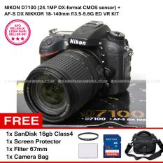 NIKON D7100 (24.1MP DX-format CMOS sensor) + AF-S DX NIKKOR 18-140mm f/3.5-5.6G ED VR KIT + SanDisk 16Gb + Screen Protector + Filter 67mm + Camera Bag