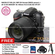 NIKON D7100 (24.1MP DX-format CMOS sensor) + AF-S DX NIKKOR 18-140mm f/3.5-5.6G ED VR KIT + SanDisk 16Gb + Screen Protector + Filter 67mm + Camera Bag + Attanta Kaiser 234