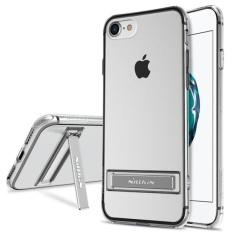 NILLKIN untuk iPhone 7 Yg Tahan Pukulan Bordure Transparan Pelindung TPU Lunak Casing Belakang dengan Alumunium Alloy Pemegang (Putih)-Intl