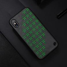 NILLKIN untuk IPhone X Noctilucent Hollowed-keluar Bunga PU Kulit + PC Back Case Cover (Grey) -Intl