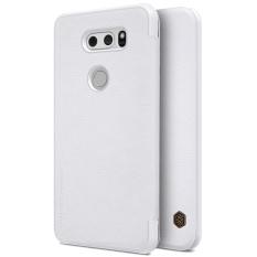 NILLKIN Qin Disesuaikan Ultra Tipis Di Dalam Slot Kartu Flip Up Case Kulit Cangkang Pelindung Penutup untuk LG V30 (Putih)