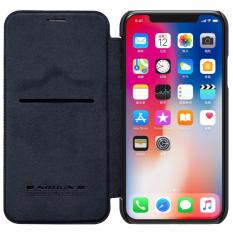 Nillkin Qin Series Leather case for Apple iPhone X - Hitam.
