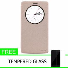 Nillkin Sparkle Leather Case / Flip Case Cover Original LG G4 - Emas + Gratis Tempered Glass