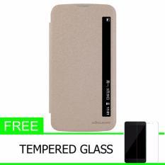Nillkin Sparkle Leather Case / Flip Case Cover Original LG K10 - Emas + Gratis Tempered Glass