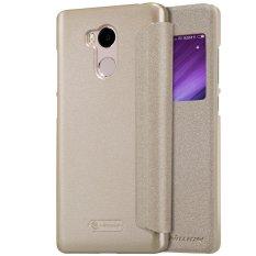 Toko Jual Nillkin Sparkle View Leather Case Xiaomi Redmi 4 Prime Casing Cover Flip Emas
