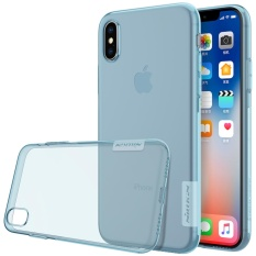 NILLKIN Transparan Tipis Soft Nature Slim Crystal Clear TPU Soft Shell Case Belakang untuk Apple IPhone X-clear Biru-Intl