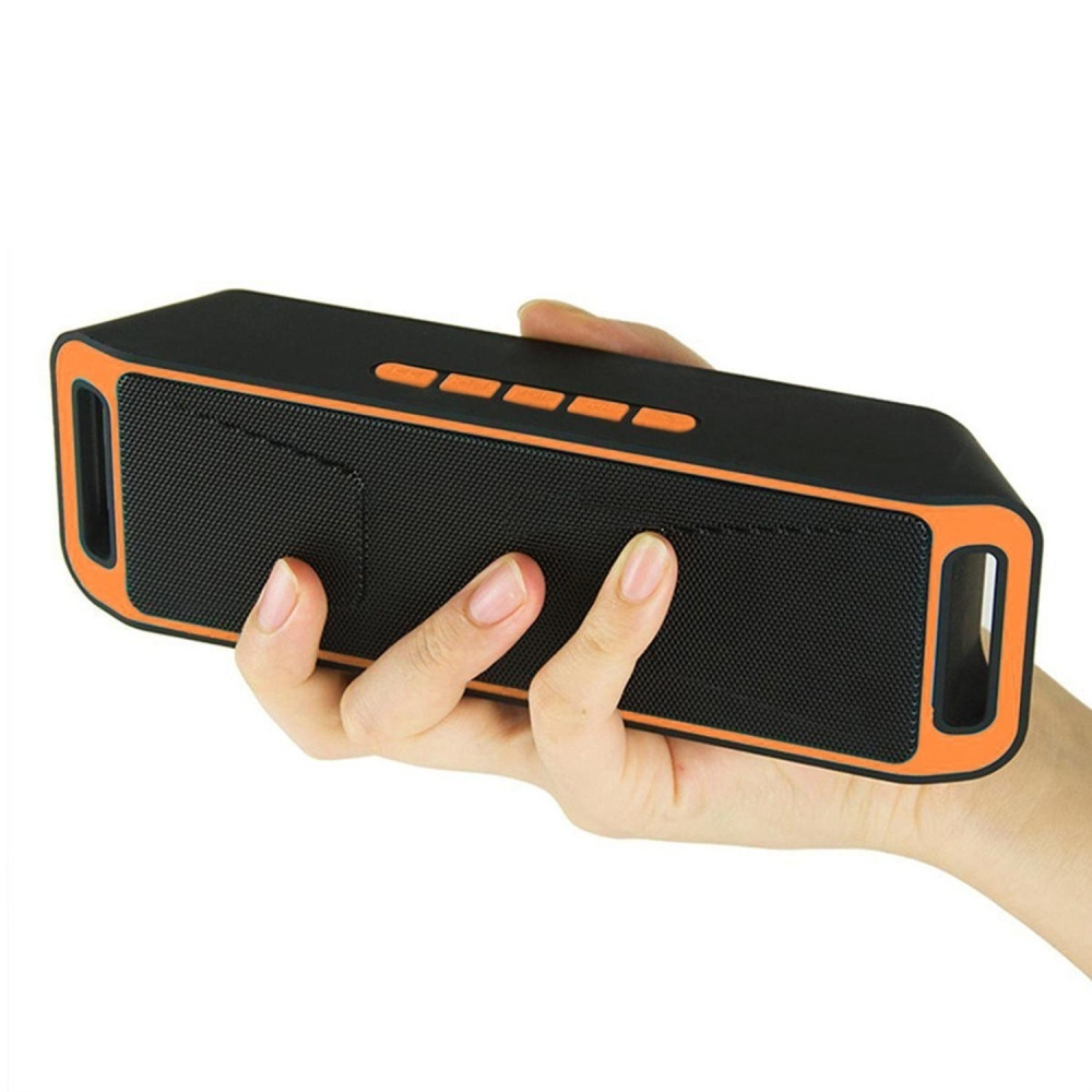 Promo Nirkabel Bluetooth Speaker Usb Flash Fm Radio Stereo Mp3 Player Mendukung Tf Kartu Warna Orange Intl
