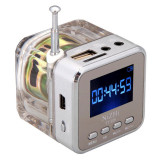 Promo Nizhi Tt028 Tt 028 Crystal Lighting Digital Portable Mini Speaker Musik Mp3 Mp4 Player Tf Usb Disk Speaker Fm Radio Lcd Display Silver Murah