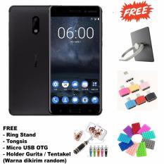 Nokia 6 3/32 - Garansi Resmi -16MP + 8MP - (Free 4 Item Accesories) - Black