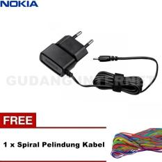 Nokia Travel Charger Jack Kecil OEM - Hitam + Free Spiral Pelindung Kabel Warna Random