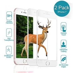 NONZERS iPhone 7 Screen Protector-High Definition,[2-Pack] 3D Curve Full Coverage Tempered Glass Screen Protector for iPhone 7(4.7),9H Hardness,3D Touch Compatible,Easy Installation (Black) (White) - intl