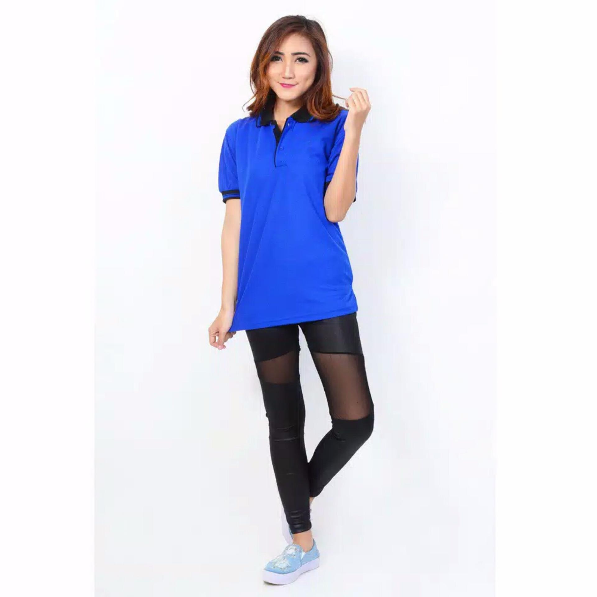Obral Nosh Fashion Polo Shirt Women M Biru Tua Murah