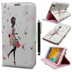 Note 3 Leather Case, Qbily Fairy Girls Pola Pink PU Leather Cover dengan Penutupan Magnetik Kartu Kredit Slot Pouch Stand untuk Samsung Galaxy Note 3 N9000 dengan Black Stylus Pen (Belanja Pink Girls) -Intl
