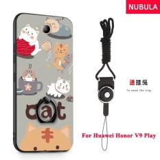 NUBULA 3D Stereo Relief Colorful Painting Pattern Shockproof Back Cover With Metal Ring and Phone Rope For Huawei Honor 6C Pro Huawei Honor V9 Play (Cats) - intl