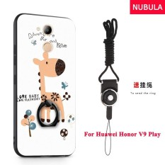 NUBULA 3D Stereo Relief Colorful Painting Pattern Shockproof Back Cover With Metal Ring and Phone Rope For Huawei Honor 6C Pro Huawei Honor V9 Play (Giraffe) - intl