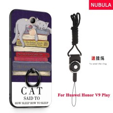 NUBULA 3D Stereo Relief Colorful Painting Pattern Shockproof Back Cover With Metal Ring and Phone Rope For Huawei Honor 6C Pro Huawei Honor V9 Play (Lazy cat) - intl