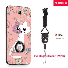 NUBULA 3D Stereo Relief Colorful Painting Pattern Shockproof Back Cover With Metal Ring and Phone Rope For Huawei Honor 6C Pro Huawei Honor V9 Play (Love Cat) - intl
