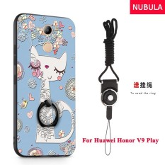NUBULA 3D Stereo Relief Colorful Painting Pattern Shockproof Back Cover With Metal Ring and Phone Rope For Huawei Honor 6C Pro Huawei Honor V9 Play (Shy Cat) - intl
