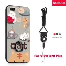 NUBULA 3D Stereo Relief Colorful Painting Pattern Shockproof Back Cover With Metal Ring and Phone Rope For VIVO X20 Plus (Cats)
