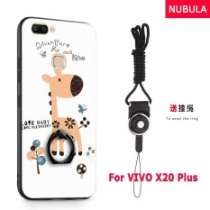 NUBULA 3D Stereo Relief Colorful Painting Pattern Shockproof Back Cover With Metal Ring and Phone Rope For VIVO X20 Plus (Giraffe)