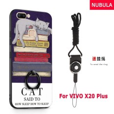 NUBULA 3D Stereo Relief Colorful Painting Pattern Shockproof Back Cover With Metal Ring and Phone Rope For VIVO X20 Plus (Lazy cat)