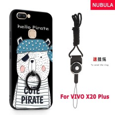 NUBULA 3D Stereo Relief Colorful Painting Pattern Shockproof Back Cover With Metal Ring and Phone Rope For VIVO X20 Plus (Pirate Bear)