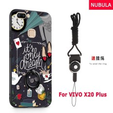 NUBULA 3D Stereo Relief Colorful Painting Pattern Shockproof Back Cover With Metal Ring and Phone Rope For VIVO X20 Plus (Time)