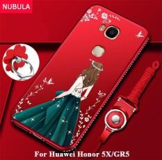 Nubula Sampul Belakang untuk Huawei Honor 5X/Huawei GR5 Cantik Berlian Ultra Tipis TPU Perlindungan Telepon Case Anti Guncangan case dengan Ponsel Tali dan Cincin Logam-Internasional
