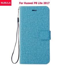 NUBULA Flip Cover For Huawei honor 8 Lite / Huawei Nova Lite / Huawei P8 Lite 2017 Woven Pattern Soft Leather Wallet Case Stand 360 degrees Anti-falling/Shockproof Cover Case With ID Card Pockets and Hand Rope Chain