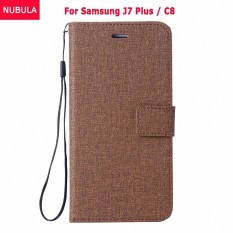 NUBULA Flip Cover For Samsung Galaxy J7 Plus / Samsung Galaxy C8 Woven Pattern Soft Leather Wallet Case Stand 360 degrees Anti-falling/Shockproof Cover Case With ID Card Pockets and Hand Rope Chain - intl