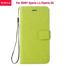 NUBULA Flip Cover For SONY Xperia L1/Xperia E6 Woven Pattern Soft Leather Wallet Case Stand 360 degrees Anti-falling/Shockproof Cover Case With ID Card Pockets and Hand Rope Chain