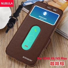 NUBULA New Fashion 360 Degree For VIVO X9 / V5 plus Flip Cover Clear View Windows Soft Leather Wallet Case Clamshell Standing Cover Case Full Protection Shockproof Drop Resistance Flip Case With Phone Rope - intl