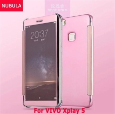 NUBULA New Fashion 360 Degree Luxury Mirror Clamshell Hard Shell Flip Wallet Case For VIVO Xplay 5, Soft Leather Flip Wallet Smart View Mirror Clear View Full Cover Case