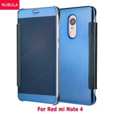 NUBULA Baru Fashion 360 Derajat Cermin Mewah Clamshell Hard Shell Flip Dompet Case untuk Xiao Mi Merah Mi Note 4, Soft Leather Flip Dompet Smart View Mirror Clear View Full Cover Case-Intl