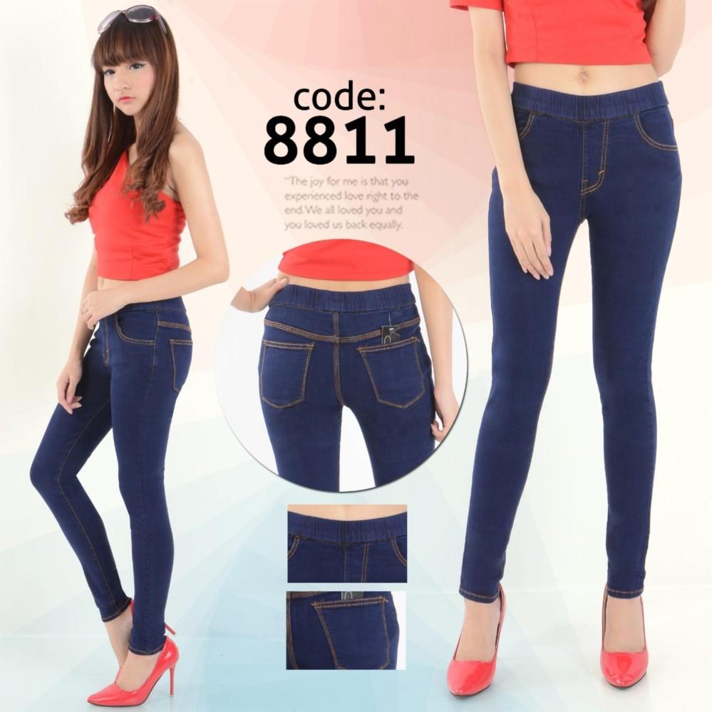 Nusantara Jeans - Celana Jegging Wanita Berbahan Denim Pinggang Karet Tidak  Pakai Resleting Sesuai Gambar Jahitan 8b4db7e32e