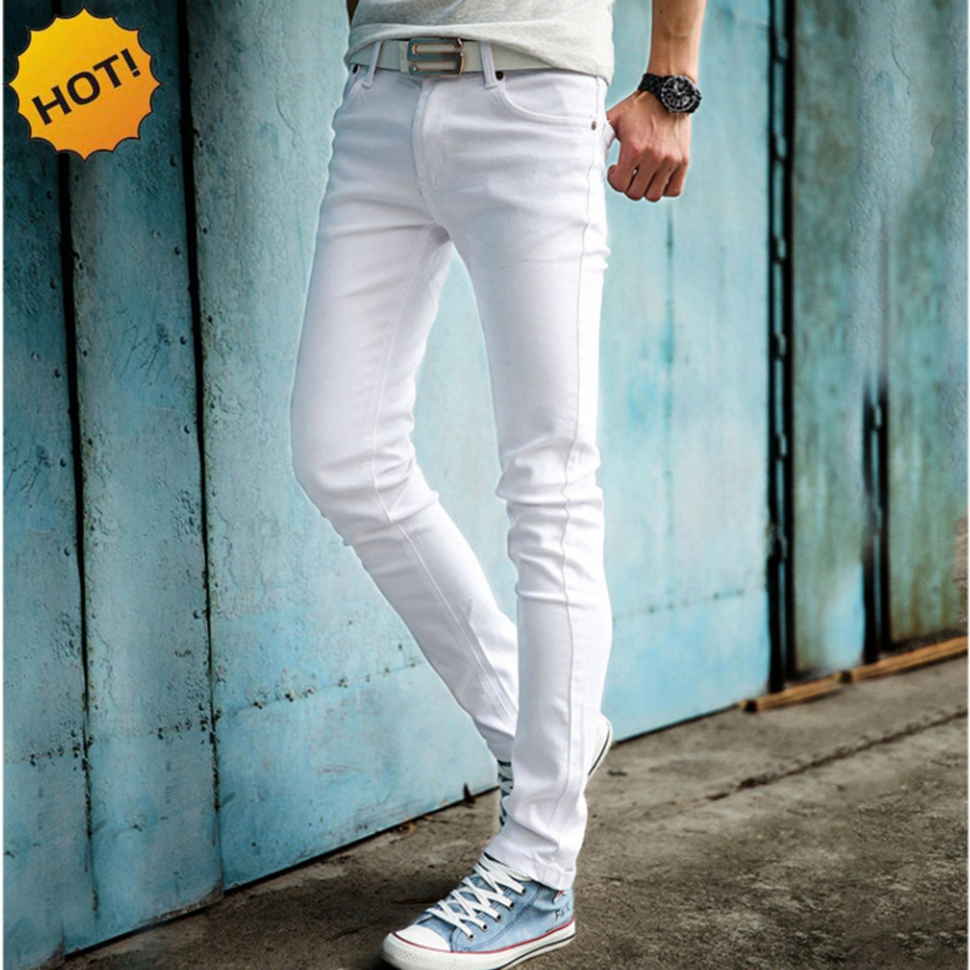 Nusantara Jeans - Celana Panjang Skinny Pria Berbahan Denim Street - Murah Jahitan Rapi Resletig Kuat - Putih