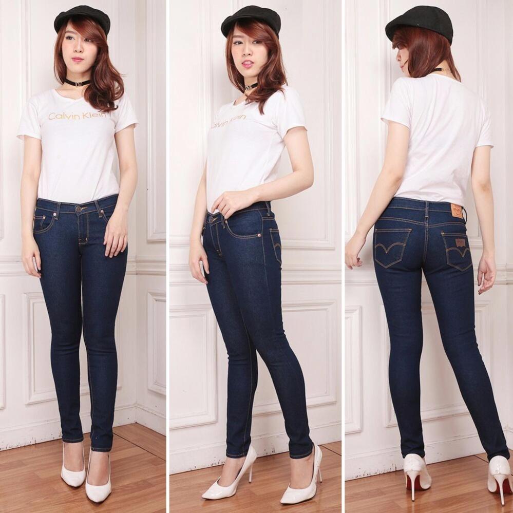 Nusantara Jeans - Celana Panjang Wanita Model Skinny Berbahan Soft Jeans Ripped Resleting Kuat Jahitan Rapi Murah - Biru Dongker