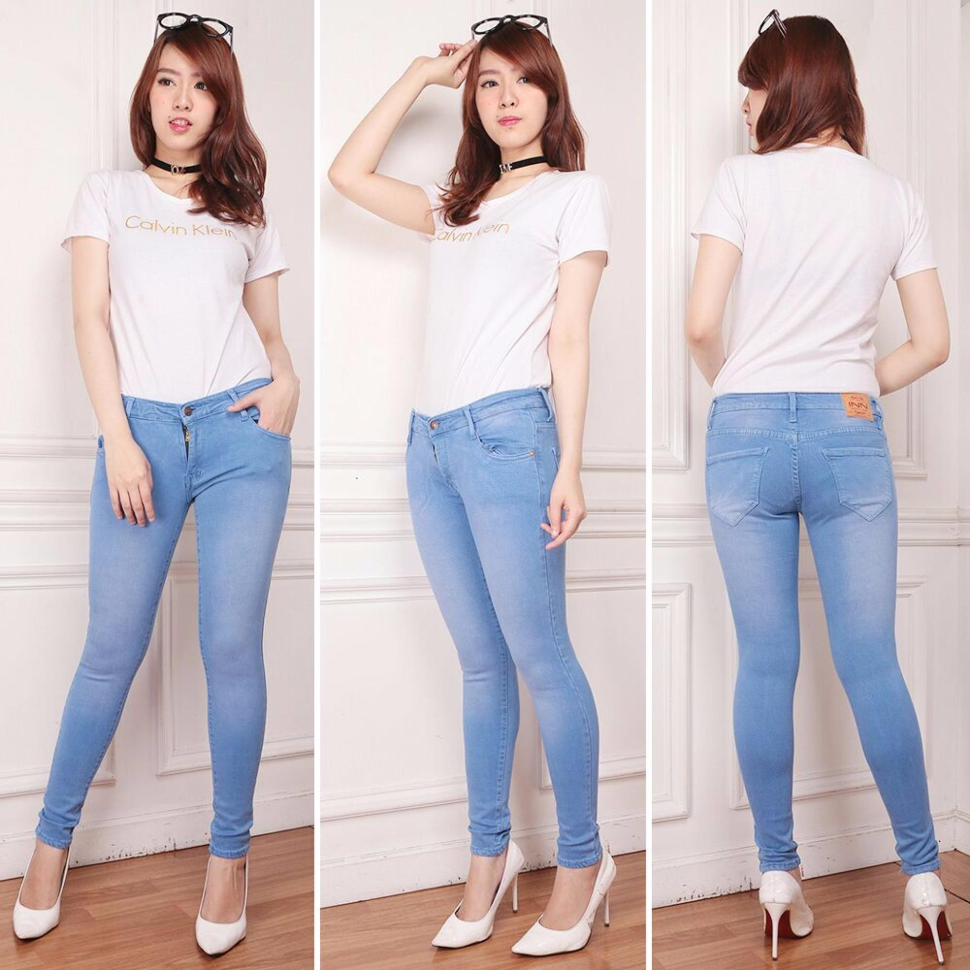 Katalog Nusantara Jeans Celana Panjang Wanita Model Skinny Street Berbahan Denim Bagus Jahitan Rapi Murah Ice Blue Terbaru