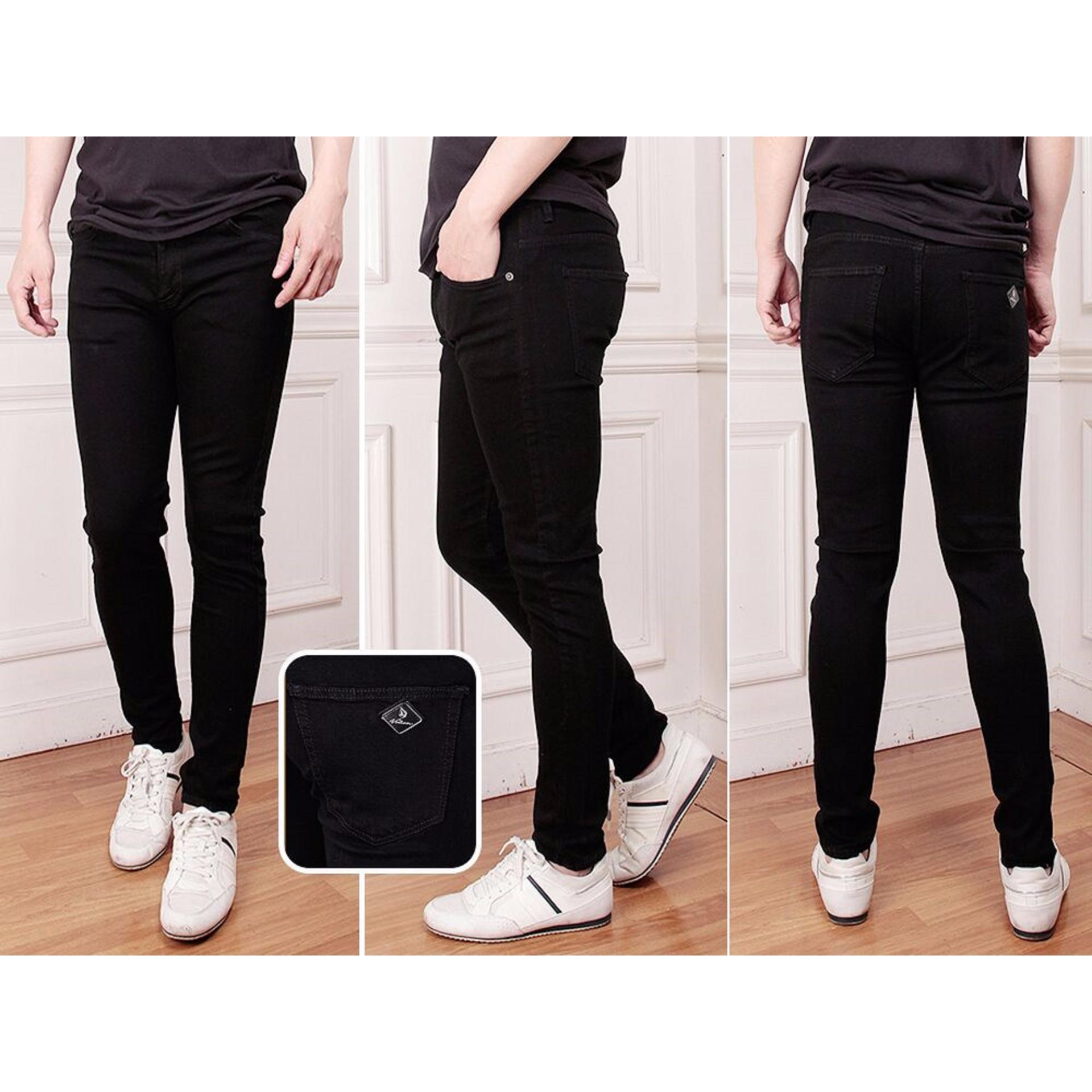 Nusantara Jeans Celana Pria Model Skinny Pensil Melar Street Hitam