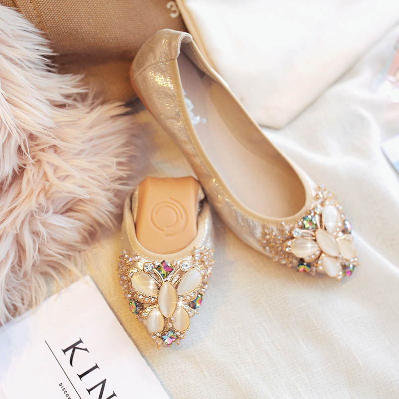 Beli Nyaman Batu Kristal Air Semi Dan Menunjuk Sepatu Kulit Kacang Sepatu Emas