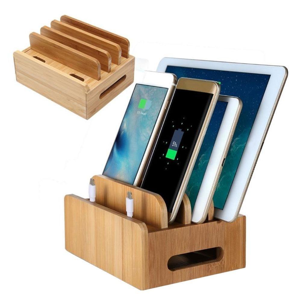 Oanda Multi Perangkat Bamboo Charging Station Stasiun Pengisian Daya Elektronik Asli Organizer-Intl
