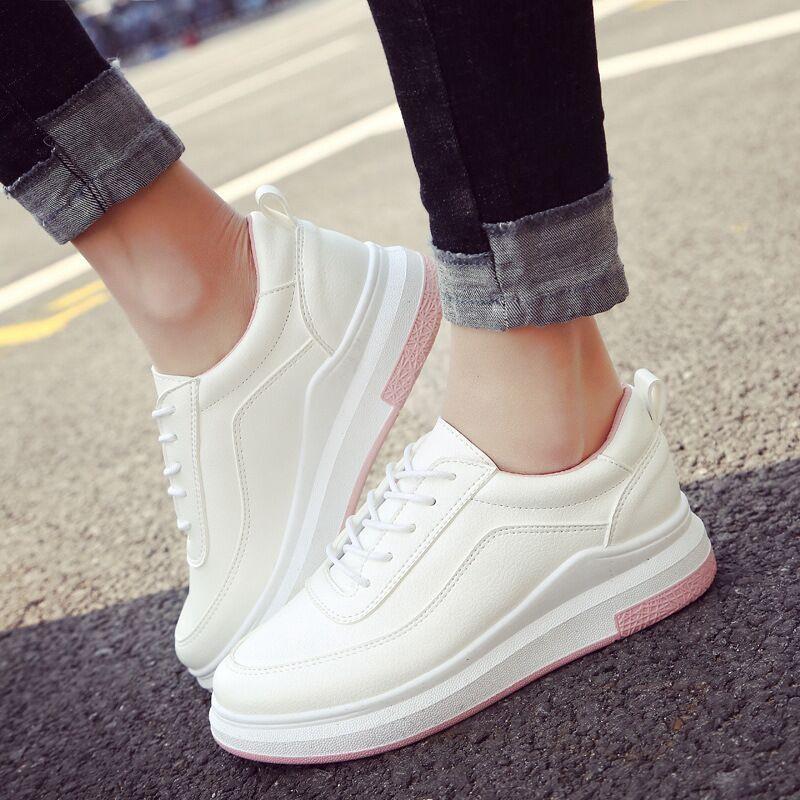 Toko Ocean New Wanita Fashion Kets Flat Pu Renda Sepatu Kasual Pink Intl Online