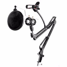 Harga Oem Bracket Stand Mic Condenser Microphone Mikrophone Phone Stand Holder Adjustable For Recording Hitam Satu Set